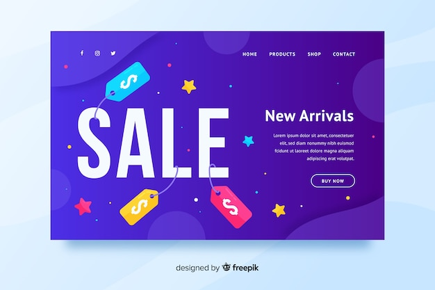 Gradient sale landing page template