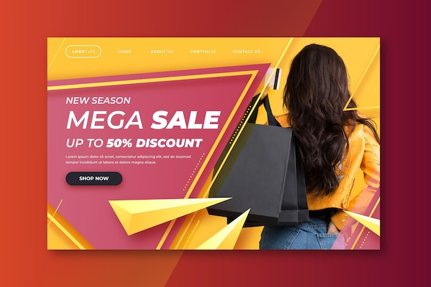 Gradient sale landing page with photo
