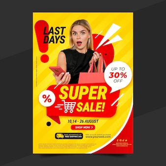 Gradient sale poster template