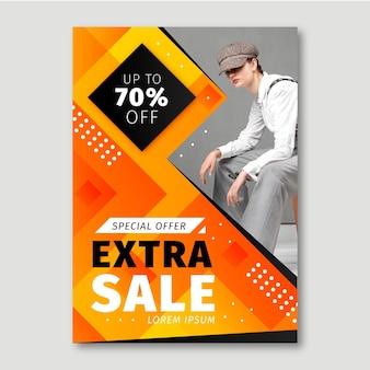 Poster di vendita sfumato con modello di foto