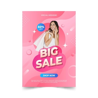 Gradient sale poster with photo