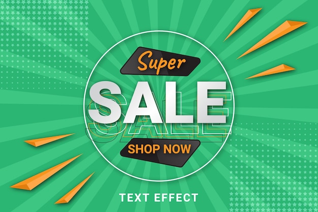 Gradient sale text effect on comic style background
