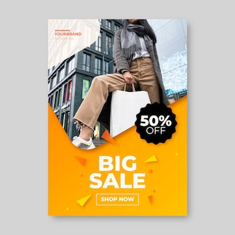 Gradient sale vertical poster template with photo