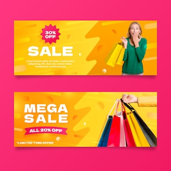 Gradient sales banners with discount