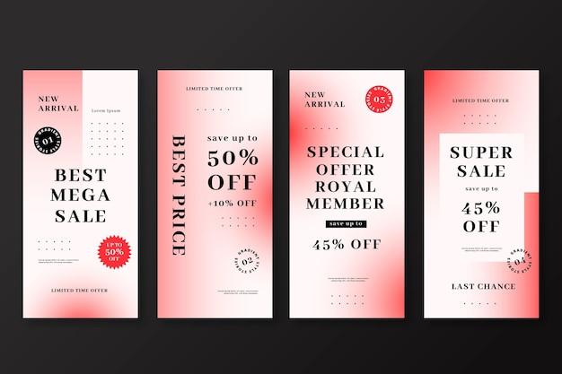 Set di storie di instagram di vendita gradiente
