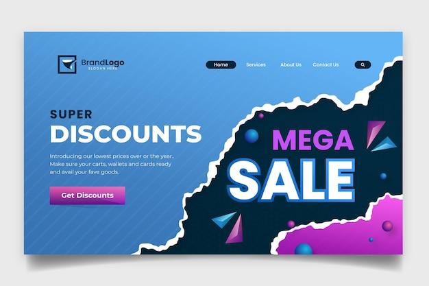 Gradient sales landing page template