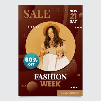 Gradient sales poster template with photo
