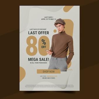 Шаблон вертикального плаката градиентных продаж с фото