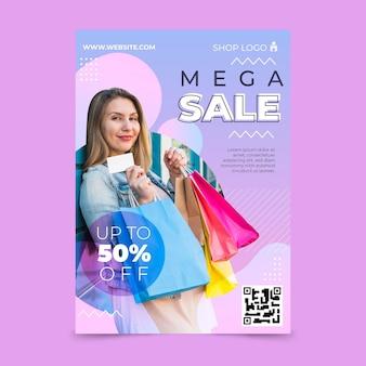 Modello di poster verticale di vendita gradiente con foto