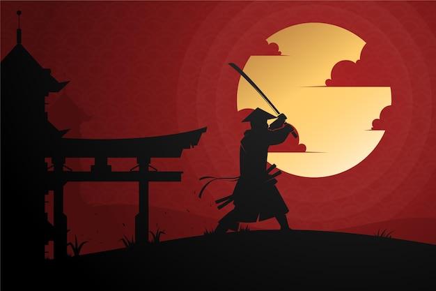 Градиент самурай на фоне рассвета