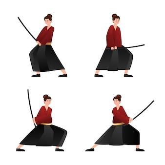 Collezione di samurai sfumati illustrati