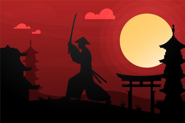 Samurai sfumato allo sfondo dell'alba
