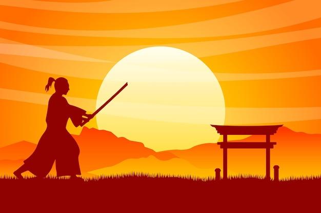 Градиент самурай силуэт фон