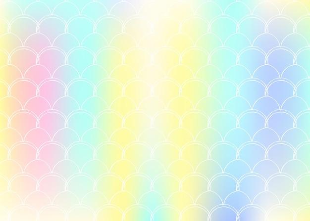 홀로그램 인어와 그라데이션 규모 배경입니다. 밝은 색상 전환. 물고기 꼬리 배너 및 초대장입니다. 여자 파티를 위한 수중 및 바다 패턴입니다. 그라데이션 스케일이 있는 진주빛 배경.