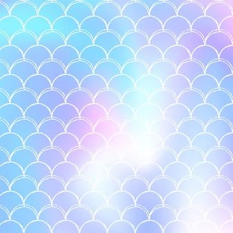 홀로그램 인어와 그라데이션 규모 배경입니다. 밝은 색상 전환. 물고기 꼬리 배너 및 초대장입니다. 여자 파티를 위한 수중 및 바다 패턴입니다. 그라데이션 규모와 레트로 배경입니다.