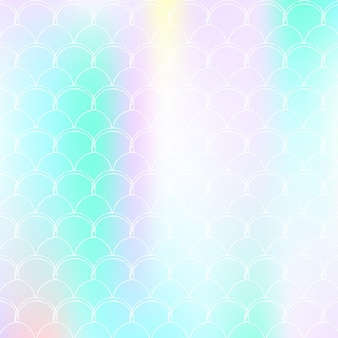 Gradient scale background with holographic mermaid. bright color transitions. fish tail banner and invitation. underwater and sea pattern for girlie party. vibrant backdrop with gradient scale.