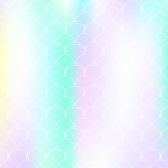 Градиентный фон с голографической русалкой. яркие цветовые переходы