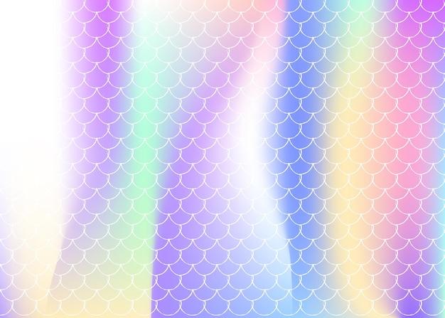 홀로그램 인어와 그라데이션 규모 배경입니다. 밝은 색상 전환