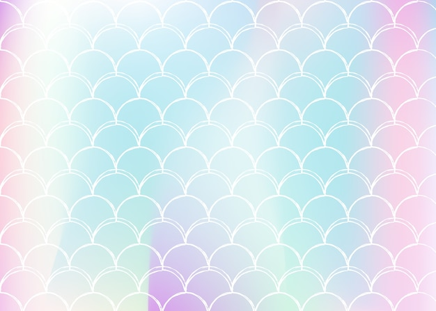 Gradient scale background with holographic mermaid.