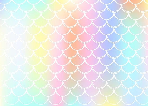 Gradient scale seamless pattern background with holographic mermaid. bright color