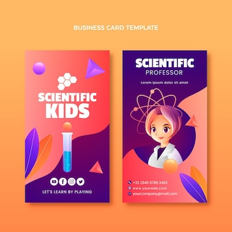 Gradient science business card verticaltemplate