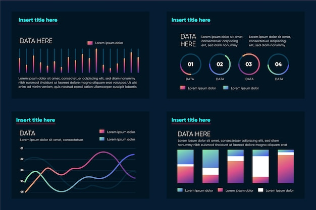 Gradient secuencial data visualization infographics