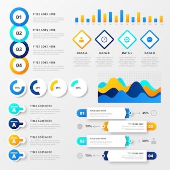 Gradiente infografica di visualizzazione dei dati secondari