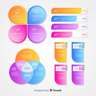 Gradient set of elements collection template