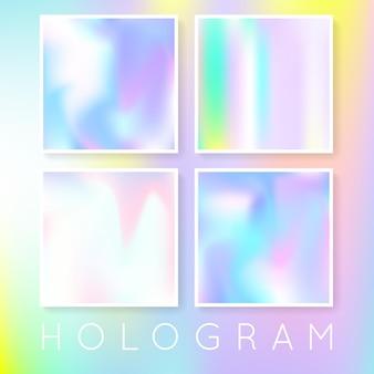 ホログラフィックメッシュのグラデーションセット。液体の抽象的なグラデーションセットの背景。 90年代、80年代のレトロなスタイル。バナー、チラシ、表紙、モバイルインターフェース、ウェブアプリの真珠光沢のあるグラフィックテンプレート。