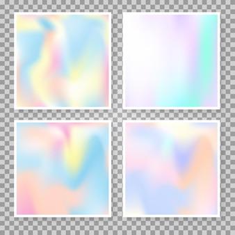 홀로그램 메쉬가 있는 그라디언트 세트. 플라스틱 추상 그라데이션 배경을 설정합니다. 90년대, 80년대 레트로 스타일. 브로셔, 전단지, 포스터, 벽지, 모바일 화면을 위한 진주빛 그래픽 템플릿.