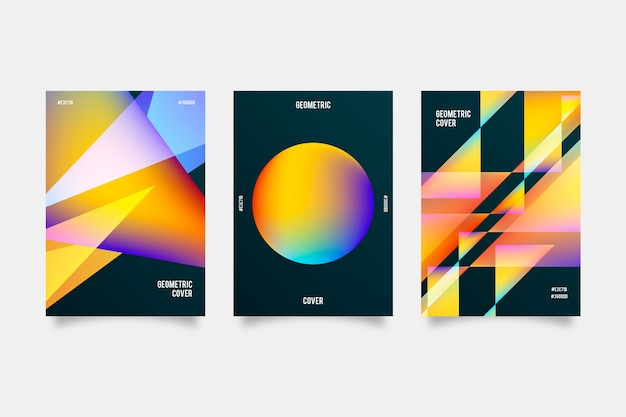 Gradient shapes covers on dark background