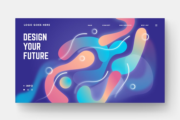 Gradient shapes landing page template