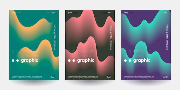 그라데이션 모양 포스터 세트.