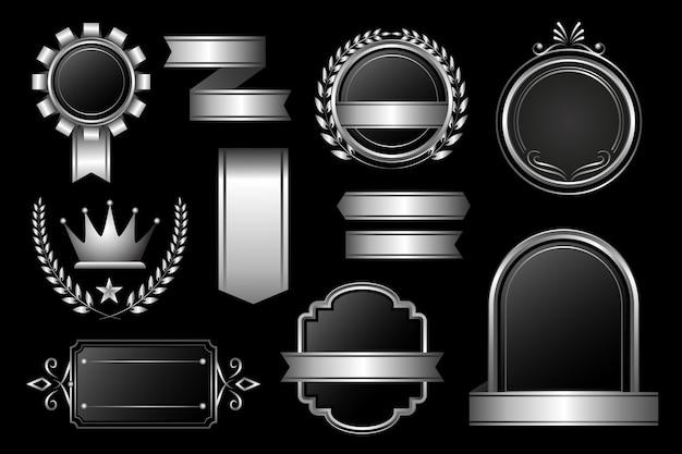 グラデーションシルバーラグジュアリーエレメントデザインバンドル
