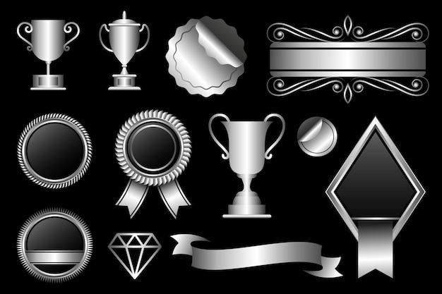Pacchetto di design di elementi di lusso in argento sfumato