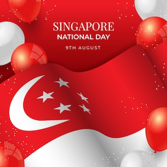 Gradiente illustrazione della giornata nazionale di singapore