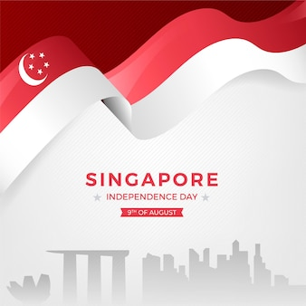 Gradient singapore national day illustration