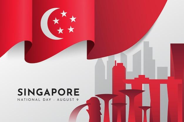 グラデーション シンガポール建国記念日イラスト