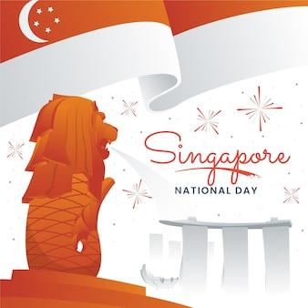 그라디언트 싱가포르 국경일 그림
