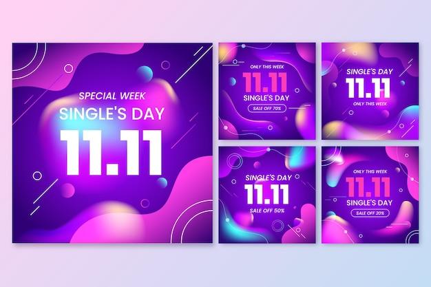 그라디언트 싱글의 날 인스타그램 게시물 모음