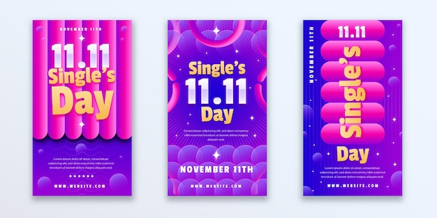 Gradient single's day instagram stories collection