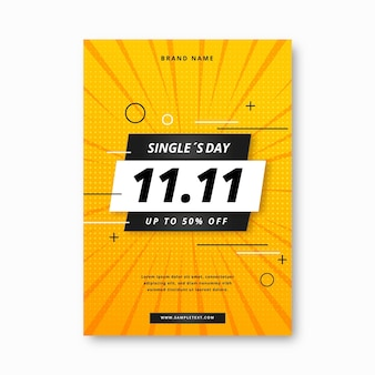 Gradient single's day vertical poster template