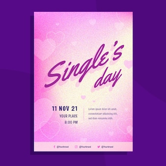 Шаблон вертикального плаката градиентного дня сингла