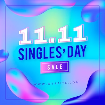 Gradient singles day holiday sale background