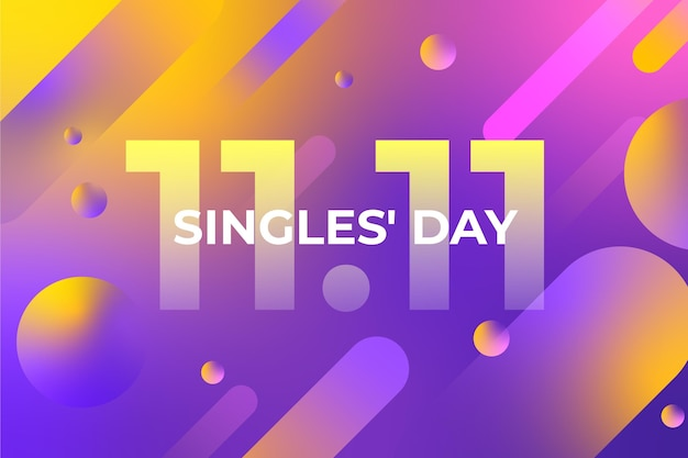 Gradient singles day holiday wallpaper