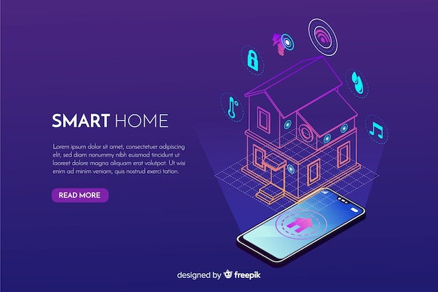 Gradient smart home isometric background