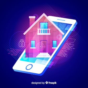 Gradient smart home isometric technology background