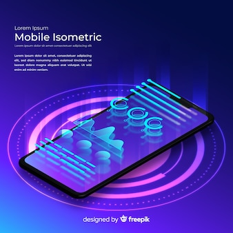 Gradient smartphone isometric technology background