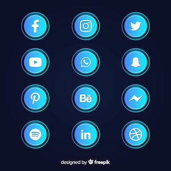 Gradient social media icons collection