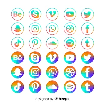 Gradient social media icons pack